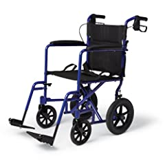 Medline transport wheelchair has large 12 inch rear wheels for better performance on uneven outdoor surfaces   Loop-style manual handbrakes are ideal for locking the rear wheels during transfers Powder coated aluminum ultralight frame is durable and ...
