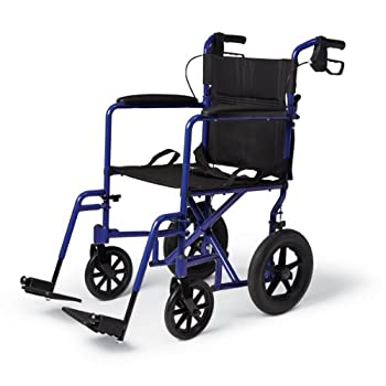 Medline Lightweight Transport Wheelchair with Handbrakes Folding Transport Chair for Adults has 12 inch Wheels Blue