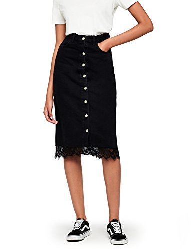 Marca Amazon - find. Falda Mujer, Negro (Black), 38, Label: S