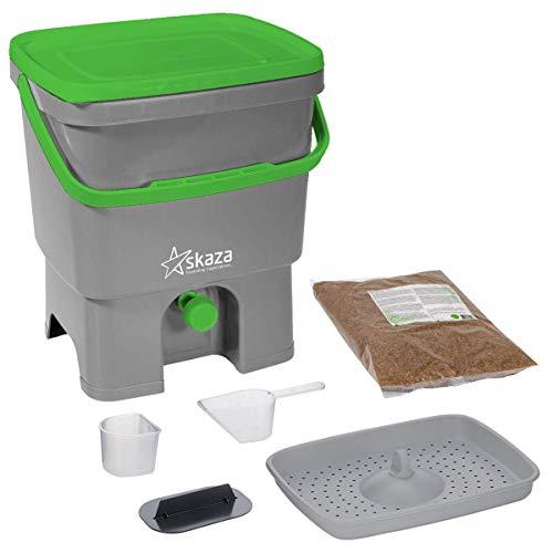 Skaza Bokashi Organko Set (16 Liter) - Küche und Garten Bio Mülleimer - recyceltem Kunststoff Komposteimer Starterset (Grau-Grün) + inkl. 1 Kg EM Fermentieren Aktivator