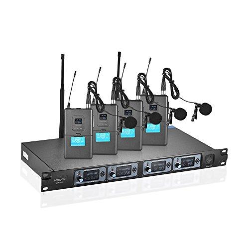 ammoon Sistema di Microfono Professionale 4 Canali UHF Senza Fili Lavalier Collare Clip-on 4 Microfoni 1 Ricevitore Wireless 6.35mm Cavo Audio Display LCD per Indirizzo pubblico