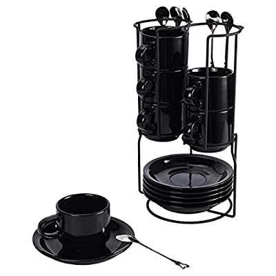 TQVAI Stackable 4 Ounce Espresso Cups with Saucers Tea Spoons and Metal Coffee Mugs Stand - Set of 6, Black