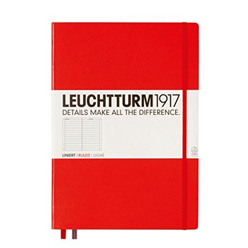 LEUCHTTURM1917 304439 Libreta de notas Master Classic (A4+) tapas duras, 235 páginas numeradas, rojo, líneas