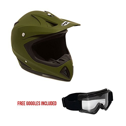 MMG Motorcycle Helmet Off Road MX ATV Dirt Bike Motocross UTV, Military Green, Large, Includes Goggles