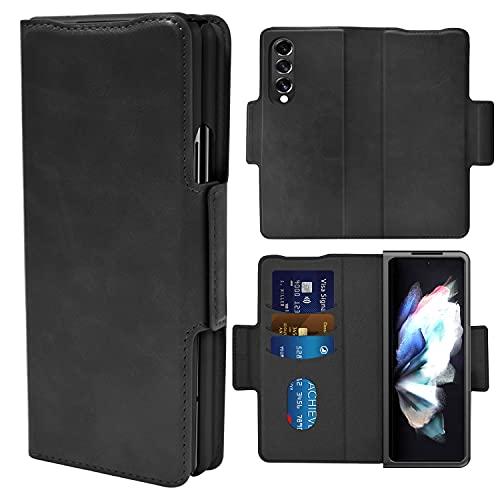 Vizvera Handyhülle für Samsung Galaxy Z Fold 3 5G Hülle Klappbar Kartensteckplatz Geldbörse Magnetisch Flip Hülle mit Stoßfest Dünn Schutzhülle Cover Etui für Samsung Galaxy Z Fold 3 2021-Schwarz