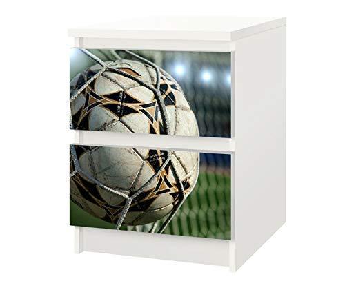 Set Möbelaufkleber für Ikea Kommode MALM 2 Fächer/Schubladen Fussball Netz Ball Kat8 Fußball Tor Goal Aufkleber Möbelfolie sticker (Ohne Möbel) Folie 25F214