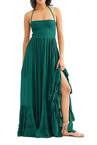 R.Vivimos Womens Summer Cotton Sexy Blackless Long Dresses (Medium, Green)