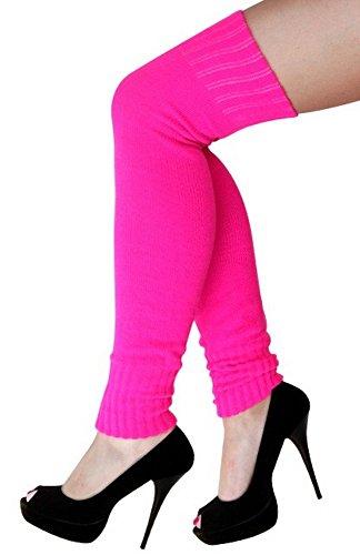 krautwear Damen Beinwärmer Stulpen Legwarmers Overknees gestrickte Strümpfe ca. 70cm 80er Jahre 1980er Jahre (neon pink)