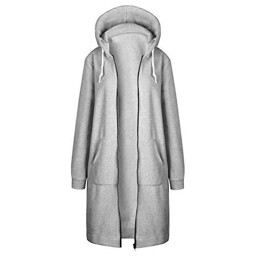 VICENT Sudaderas con capucha para mujer, estilo informal, con cordón de manga larga, elegante, otoño, invierno, sudadera, con bolsillos, tallas S-5XL gris luminoso (ral 7035) S