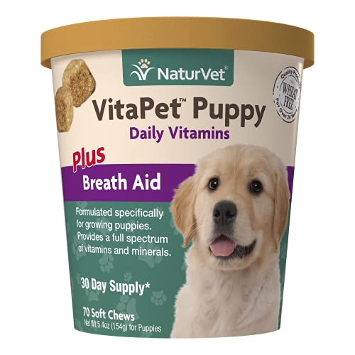 NaturVet – VitaPet Puppy Daily Vitamins for Dogs – Plus Breath Aid – Specifically Formulated to Provide Puppies with Essential Vitamins  Minerals  Amino Acids & Fatty Acids (70 Soft Chews)