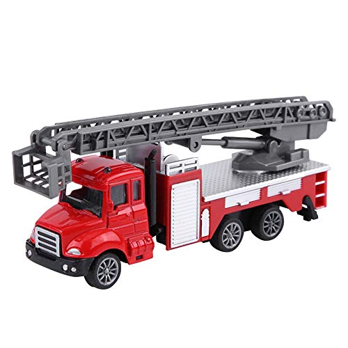 Fishawk 1/64 Coche de Juguete retráctil, Coche de Juguete, para niños Niños(Red Fire Ladder Truck)