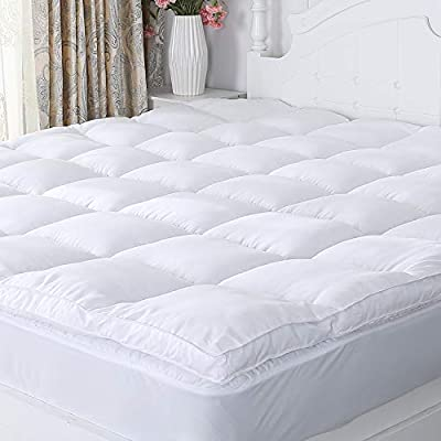 Naluka Mattress Topper Premium Hotel Collection Down Alternative Quilted Featherbed Luxury Microfiber Mattress Pad 2 Inch Thick Mattress Cover