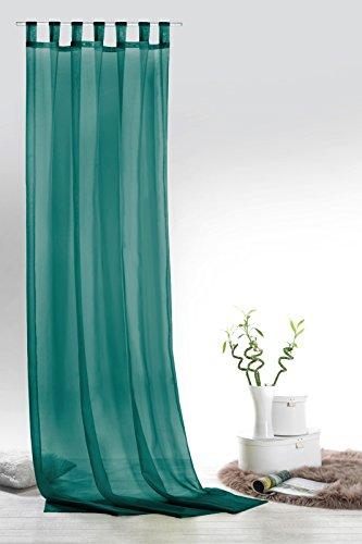 Fashion&Joy - Schaufenschal Voile Petrol HxB 245x140 cm - transparent einfarbig - Dekoschal türkis Gardine Typ418