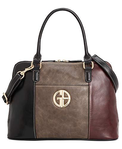 Giani Bernini Tricolor Glaze Dome Satchel Handbag Black, Grey, Wine