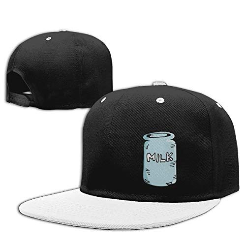 Shenigon Milk House Flat Visor Baseball Cap, Cool Snapback Hat White