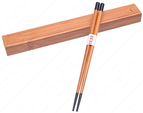 M.V. Trading MFJCC72V Japanese Style Bamboo Chopsticks with Travel Carry Case, Red Tipped