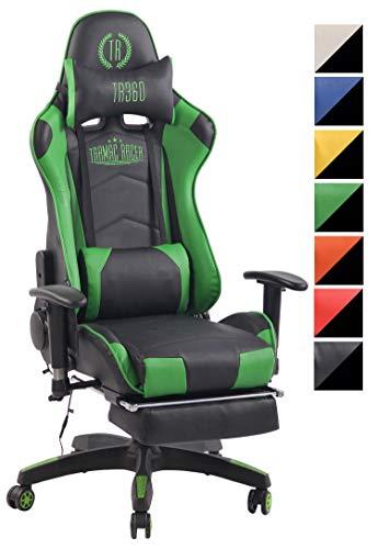 CLP Chefsessel Turbo XFM Kunstleder mit Massagefunktion l Höhenverstellbarer Bürostuhl mit ausziehbarer Fußablage und beheizbarem Sitzbereich schwarz/grün