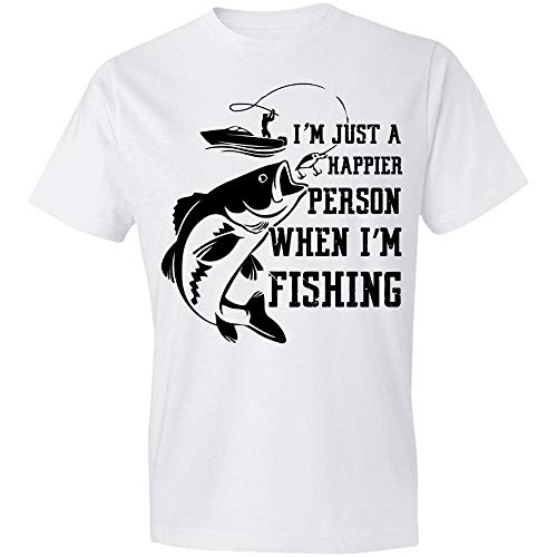 Situen I'm Just A Happier Person When I'm Fishing, Fisherman, Bass Fishing, Fishing Mom, Fishing Dad, Birth-Day Gift, Christ-mas Gift for Dad Mom Men Women T-Shirt,Gift