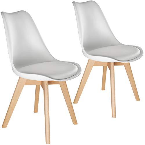 TecTake 800852 2er Set Esszimmerstuhl, gepolsterte Sitzfläche, Beine aus massivem Holz, Polsterstuhl für Wohnzimmer, Esszimmer, Küche und Büro - Diverse Farben - (Weiß | Nr. 403810)