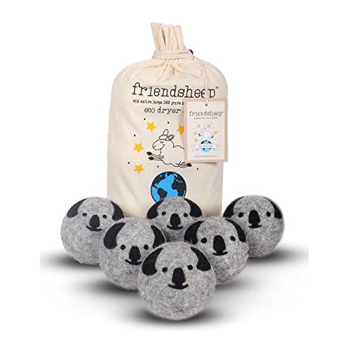 Friendsheep Wool Dryer Balls, Organic Premium Reusable Cruelty-Free Handmade Fair Trade No Lint Fabric Softener, Extra Large, 6 Pack, Grey Koala - Koala Crew