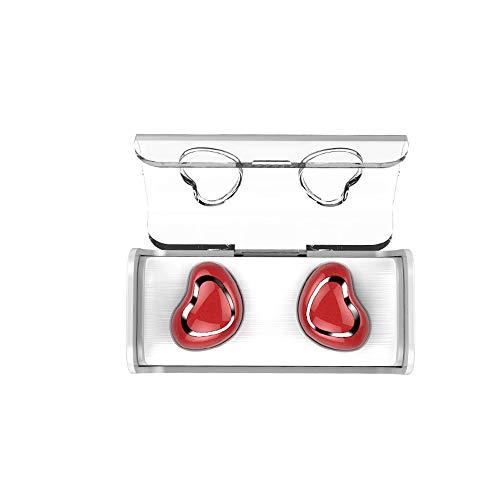 QCHEA Auricular Bluetooth con Carga de Almacenamiento 5.0 Verdadero Inalámbrico Moverse en el oído Teléfono inalámbrico Bluetooth Auriculares Deporte (Color : Red)