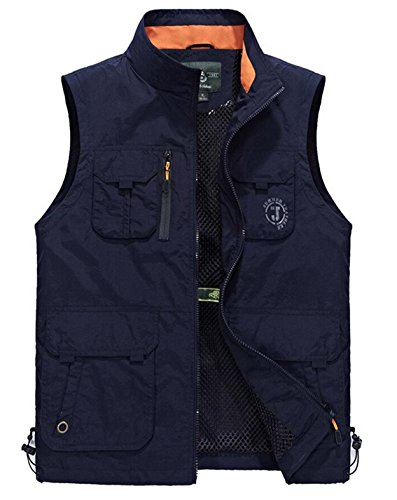 JEWOSOR Men's Outdoors Quick-Drying Travel Sports Pockets Vest Waistcoat Outerwear (US XL/Tag Asia 4XL, Navy Blue)