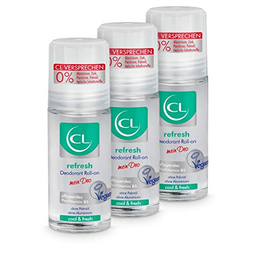 CL refresh Deodorant Roll-on mit kühlender Wirkung - 3er Pack 50 ml Deo Roller ohne Aluminium & Zink - veganes Deo Herren & Damen - antibakterielles Deodorant Männer & Frauen mit ProVitamin B5