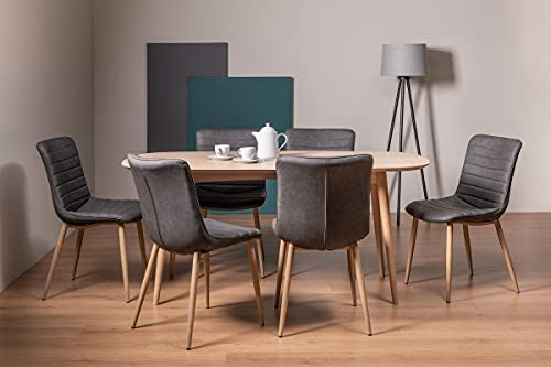 Johansen Dining Set - Scandi Oak 6 Seater Dining Table and 6 Eriksen Dark Grey Faux Leather Chairs with Grey Rustic Oak Effect Legs