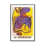 Póster de exposición de grabado de Le Corbusier, pintura abstracta del arte del cubismo, pintura en lienzo sin marco familiar A4 30x45cm