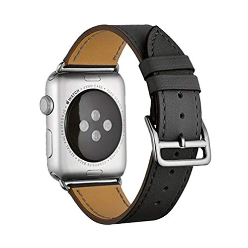 Sorteo Correa de Cuero para Apple Watch 6 Band 44mm 40 mm Iwatch Band 38mm 42mm Deporte Pulsera de Silicona para Apple Watch 6 5 4 3 42 40 38 44 mm (Band Color : 10 Black, Band Width : 38mm 40mm)