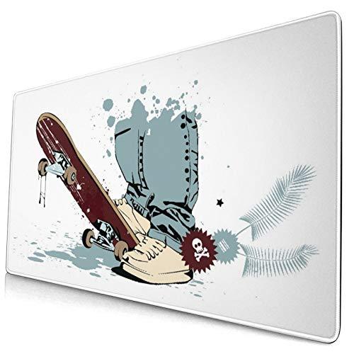 Groß Gaming Mauspad-75 x 40cm,Skateboard mit Jungenfüßen in den Turnschuhen und in den Jeans,Rutschfeste Gummibasis Tastaturmatte mit Genähten Kanten für Laptop Computer Schreibtischunterlage