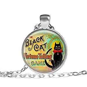 Schwarze Steampunk-Katzenschmuck, Halskette, Glücksbringer, Zirkusspiel, Psychische Halskette, Freakshow Black Kitty Good Luck Jewelry Katzenhalskette