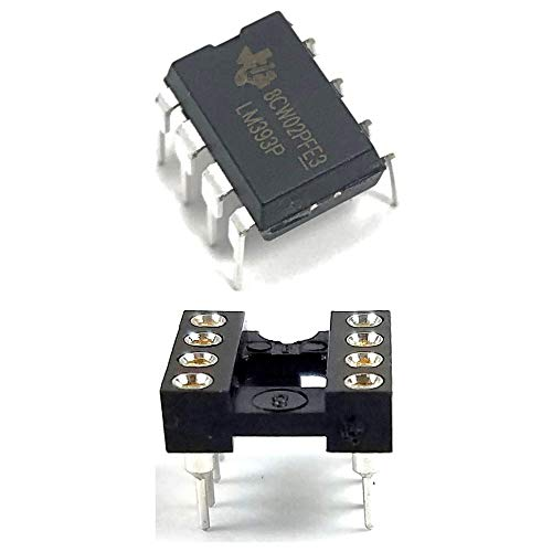 Juried Engineering LM393P LM393 IC Dual Differential Comparator & 8-Pin DIP Sockets with Machined Contact Pins Breadboard-Friendly (Pack of 5)