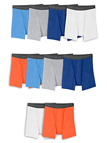 Fruit of the Loom Boys' Boxer Briefs (Assorted Colors), Husky-10 Pack-Solids, Large Husky
