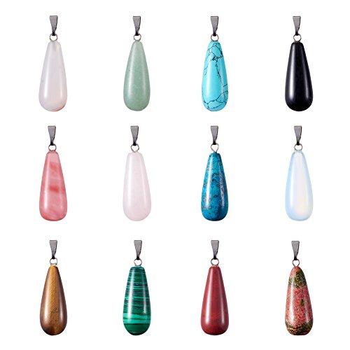 PandaHall 12 colgantes de piedras preciosas de lágrima de 30 x 11 mm, colgantes de piedras de chakra para hacer collares y joyas (mezclados al azar)