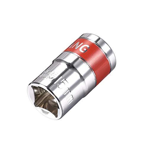 DyniLao 1/2-Inch Drive by 15mm Shallow Socket con banda roja, Cr-V, 6 puntos, Métrico