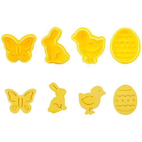 Cortadores de galletas de Pascua, juego de cortadores de galletas moldes de galletas cortador de galletas de plástico con eyector mariposa conejito pollito forma de huevo de Pascua, 4 piezas