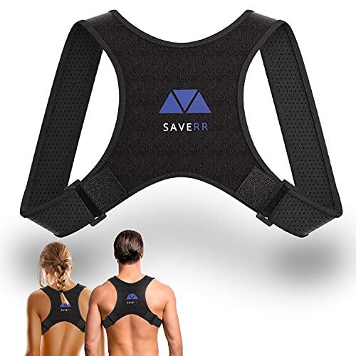 Saverr Rücken Geradehalter - Enorm komfortable Haltungskorrektur für eine aufrechte Körperhaltung - Rückenstütze individuell verstellbar - Geradehalter in schwarz Unisex