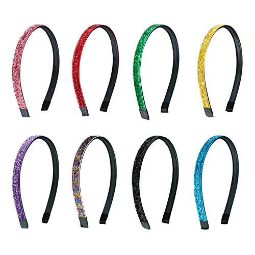 Haarreifen mit Glitzer Stirnbänder Rutschfeste Haarbänder 10mm Breite DIY Haarschmuck für Mädchen Kinder Mehrfarbig 8 Stück