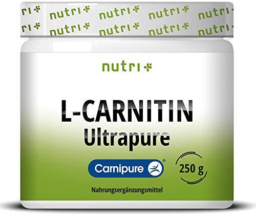 L-CARNITIN Carnipure Pulver - reines L-Carnitine Tartrat Ultrapure Powder 250g von Lonza - 3000mg Carnitinpulver pro Portion ohne Zusatzstoffe - Nutri-Plus Vegan Made in Germany