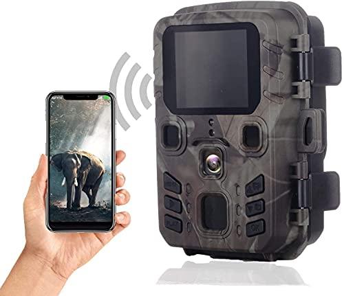 SuntekCam WiFi Mini Fotocamera Caccia Fototrappola 24 MP 1296P Bluetooth WiFi APP con sensore di movimento, telecamera da caccia con movimento per visione notturna, impermeabile IP66-HC-MINI301