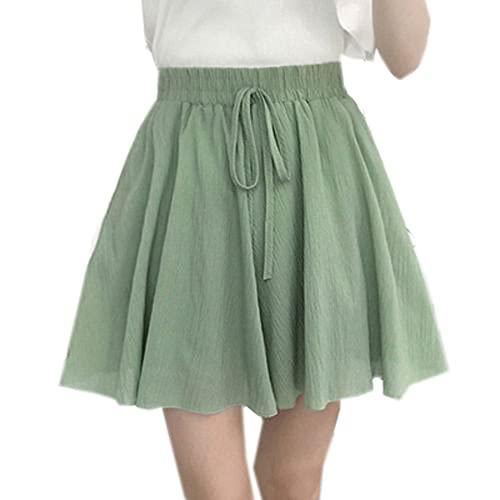 Nuevos Pantalones Cortos De Gasa De Verano para Mujer, Pantalones Cortos De Pierna Ancha De Cintura Alta De Doble Capa, Falda Suelta Informal Corta para Mujer