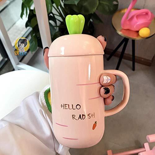 xingfuankang Taza De Zanahoria Creativa Linda De Dibujos Animados con Cuchara Taza De Cerámica Pareja Estudiante Café Leche Taza De Desayuno Regalo Pequeña Taza Refrescante Cl324-Rosa