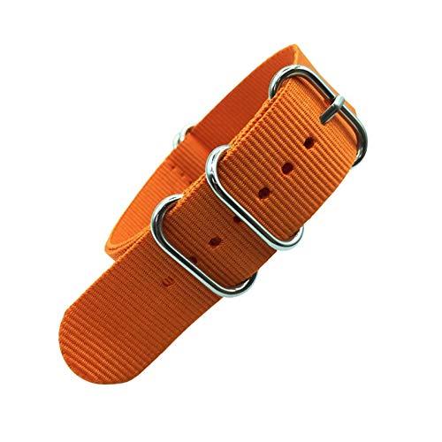 okkpbg Correa de Hombre Correa Colorida Arco Iris 18mm 20 mm 22mm 24mm Military Strap Strap Tela Tela de Nylon Cinturón Hebilla Casual y Hermosa (Band Color : Orange, Band Width : 22mm)