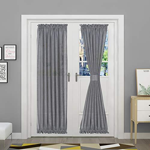 Aquazolax Vorhänge mit Leinenstruktur, Sichtschutz, offenes Gewebe, durchscheinende Vordertürpaneele mit Raffhalter für Glastür Wohnzimmer, 1 Panel, 132,1 cm Breite x 182,9 cm Länge, Grau