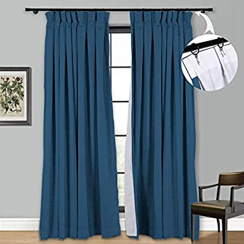 Room Darkening Curtain Panels Blackout Lining Drapes Polyester Linen Window Treatment for Summer Color Navy Blue Inverted Pleated Box Top 1 Panel 52 x 72