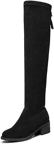 YUBINguoxixue Bottes pour Femmes sur Les Genoux, épais avec des Bottes Extensibles Ultra-élastiques, Bottes Velours pour Femmes (Couleur   Noir, Taille   EU 36 US 4.5 UK 3.5 JP 23cm)