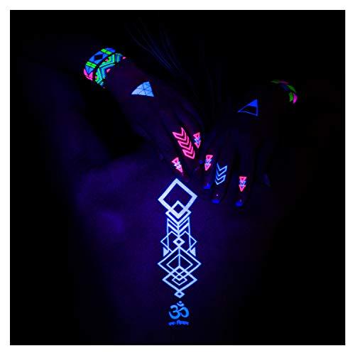 AKTIIV® Klebetattoos | Hakuna Matata Edition | 5X DIN-A5 Bogen temporäre Neon Tattoos | Neon Body & Face Painting Aufkleber für die Haut | Accessoire für Schwarzlicht UV Party & Festivals