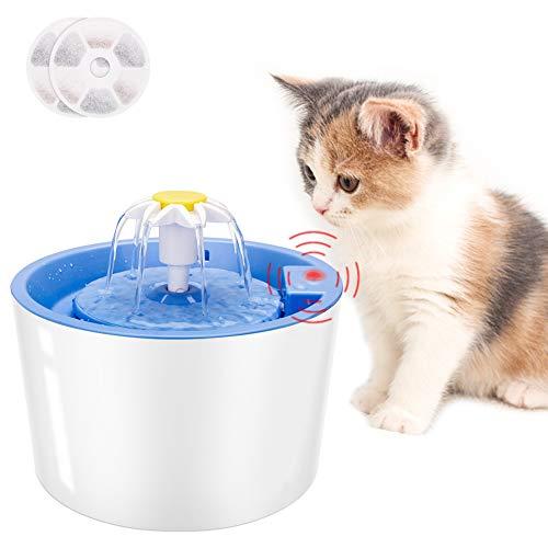 Coquimbo Katzen Trinkbrunnen, 1.6L Wasserspender für Katzen und Hund mit LED Sensor-Funktion, 3 Modi Cat Trinkbrunnen für Haustiere mit 2 Stück Hygienefilter (Blau)