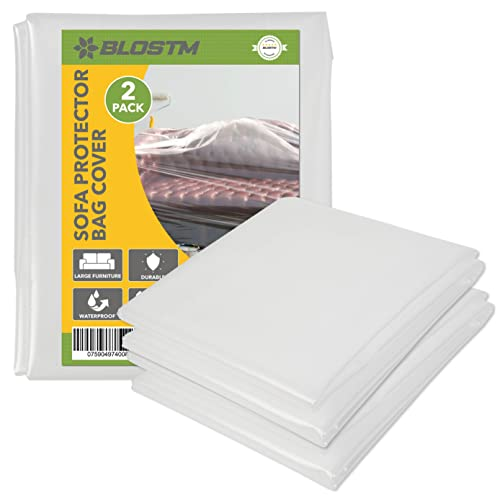 BLOSTM Plastic Sofa Cover - 2 Sofa Storage Bags, Extra-Thick Pet-Proof Dust...